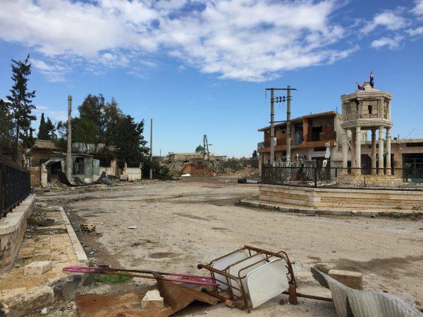 Jarjanaz Januar 2020. Der Ort ist seit Dezember 2019 wieder unter Kontrolle der syrischen Streitkräfte. Jarjanaz liegt wenige Kilometer von Maaret al-Numan entfernt und liegt an der Frontlinie in Idlib